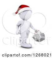 Clipart Of A 3d White Man Christmas Shopping And Carrying A Shopping Basket Royalty Free Illustration by KJ Pargeter