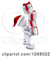 Clipart Of A 3d White Man Carrying A Stack Of Christmas Gifts Royalty Free Illustration
