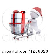 Clipart Of A 3d White Man Christmas Shopping And Pushing A Gift In A Cart Royalty Free Illustration by KJ Pargeter