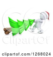 Clipart Of A 3d White Man Dragging A Christmas Tree Royalty Free Illustration