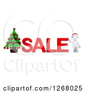 Clipart Of A 3d White Man With SALE Text And A Christmas Tree Royalty Free Illustration by KJ Pargeter