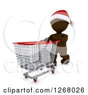 Clipart Of A 3d Brown Man Christmas Shopping And Pushing An Empty Cart Royalty Free Illustration
