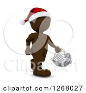 Clipart Of A 3d Brown Man Christmas Shopping And Carrying A Shopping Basket Royalty Free Illustration