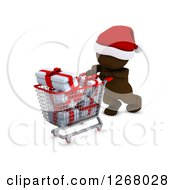 Clipart Of A 3d Brown Man Christmas Shopping And Pushing Gifts In A Cart Royalty Free Illustration