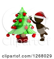 Clipart Of A 3d Brown Man Decorating A Christmas Tree Royalty Free Illustration