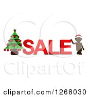 Clipart Of A 3d Brown Man With SALE Text And A Christmas Tree Royalty Free Illustration