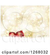 Clipart Of A Gold Christmas Background Of 3d Red Baubles Over Stars And Bokeh Flares Royalty Free Illustration