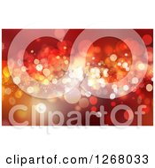 Clipart Of A Red Christmas Background Of Snowflakes And Bokeh Flares Royalty Free Illustration