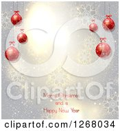 Clipart Of A Silver Background With Snowflakes And Red 3d Baubles Over Merry Christmas And A Happy New Year Text Royalty Free Vector Illustration