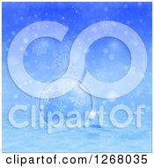 Clipart Of A Blue Christmas Background Of A Glass Bauble In The Snow Over Snowflakes Royalty Free Illustration