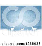 Clipart Of A Background Of White Silhouetted Alert Deer In The Snow Against Trees Royalty Free Vector Illustration