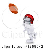 Clipart Of A 3d White Man Catching A Football Royalty Free Illustration