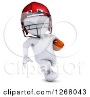 Clipart Of A 3d White Man Running With A Football Royalty Free Illustration