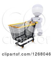 Clipart Of A 3d White Man Shopping And Pushing An Empty Cart Royalty Free Illustration by KJ Pargeter