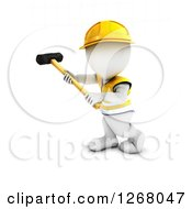 Clipart Of A 3d White Man Construction Worker Swinging A Sledgehammer Royalty Free Illustration by KJ Pargeter