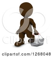 Clipart Of A 3d Brown Man Carrying A Shopping Basket Royalty Free Illustration