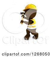 Clipart Of A 3d Brown Man Construction Worker Swinging A Sledgehammer Royalty Free Illustration by KJ Pargeter
