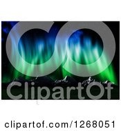 Clipart Of A Background Of Northern Lights Over 3d Mountains Royalty Free Illustration by KJ Pargeter