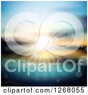 Clipart Of A Blurred Ocean Sunset With Rays And Flares Royalty Free Vector Illustration