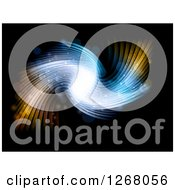 Clipart Of A Blue And Orange Flare Wave Over Black Royalty Free Vector Illustration by KJ Pargeter
