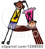 Clipart Of A Stick Boy And Girl Forming Capital Letter A Royalty Free Vector Illustration by Prawny