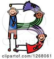 Clipart Of A Stick Boy And Girl Forming Capital Letter B Royalty Free Vector Illustration
