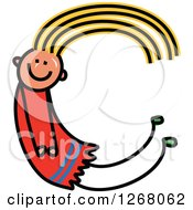 Clipart Of A Stick Girl Forming Capital Letter C Royalty Free Vector Illustration by Prawny