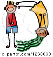 Clipart Of A Stick Boy And Girl Forming Capital Letter D Royalty Free Vector Illustration