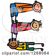 Clipart Of Stick Boys Forming Capital Letter E Royalty Free Vector Illustration