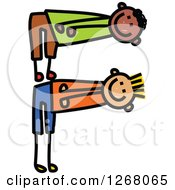 Clipart Of Stick Boys Forming Capital Letter F Royalty Free Vector Illustration by Prawny