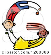 Clipart Of A Stick Boy And Girl Forming Capital Letter G Royalty Free Vector Illustration