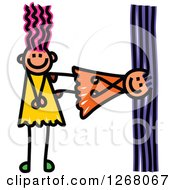 Clipart Of Stick Girls Forming Capital Letter H Royalty Free Vector Illustration