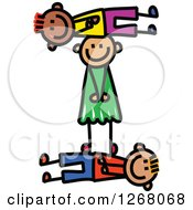 Clipart Of A Stick Boy And Girl Forming Capital Letter I Royalty Free Vector Illustration