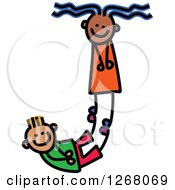Clipart Of A Stick Boy And Girl Forming Capital Letter J Royalty Free Vector Illustration