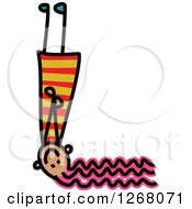 Clipart Of A Stick Girl Forming Capital Letter L Royalty Free Vector Illustration