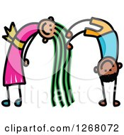 Clipart Of A Stick Boy And Girl Forming Letter M Royalty Free Vector Illustration