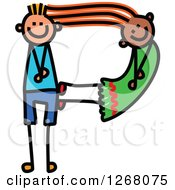 Clipart Of A Stick Boy And Girl Forming Capital Letter P Royalty Free Vector Illustration