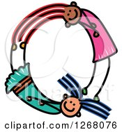 Clipart Of Stick Girls Forming Capital Letter Q Royalty Free Vector Illustration