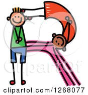 Clipart Of A Stick Boy And Girl Forming Capital Letter R Royalty Free Vector Illustration