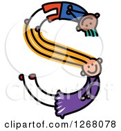 Clipart Of A Stick Boy And Girl Forming Letter S Royalty Free Vector Illustration