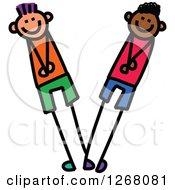 Clipart Of Stick Boys Forming Letter V Royalty Free Vector Illustration