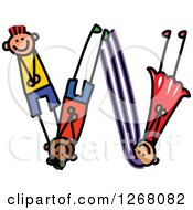 Clipart Of A Stick Boy And Girl Forming Capital Letter W Royalty Free Vector Illustration