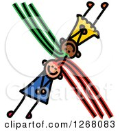 Clipart Of Stick Girls Forming Letter X Royalty Free Vector Illustration