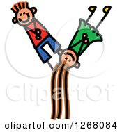 Clipart Of A Stick Boy And Girl Forming Capital Letter Y Royalty Free Vector Illustration