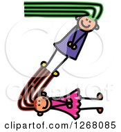 Clipart Of Stick Girls Forming Letter Z Royalty Free Vector Illustration by Prawny