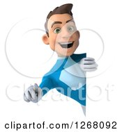 Clipart Of A 3d Young Brunette White Male Super Hero In A Blue Suit Pointing Outwards Around A Sign Royalty Free Illustration