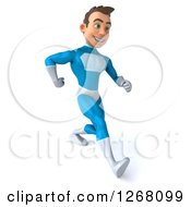 Clipart Of A 3d Walking Young Brunette White Male Super Hero In A Blue Suit 3 Royalty Free Illustration