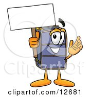 Clipart Picture Of A Suitcase Cartoon Character Holding A Blank Sign