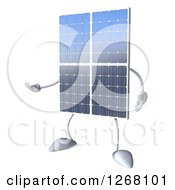 Clipart Of A 3d Solar Panel Character Presenting Royalty Free Illustration