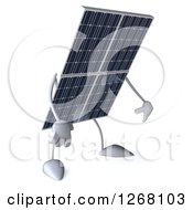 Clipart Of A 3d Solar Panel Character Pouting Royalty Free Illustration